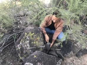 Student researcher Humberto Gurrola checks on a wildlife camera placed on Tumamoc Hill to monitor animal diversity. (Photo: Rachel Abraham)