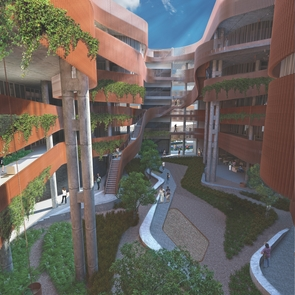An outdoor courtyard will wind through the middle of ENR2, which was  designed to mimic the look of a slot canyon. (Image: GLHN/Richärd+Bauer)