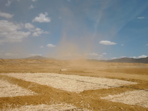 A windy morning showing dust blowing from the tailings site at the Iron King Mine. (Photo courtesy of Raina Maier)