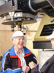 Barbara Jamieson shares a happy moment with Tucson friend Valerie Goff at the John Jamieson Telescope dedication. (Photo: Lori Stiles)