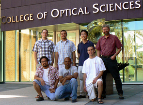 (Click to enlarge) Jessen and the team from UA's College of Optical Sciences who are reporting on their research in the Oct.8,2009 issue of Nature are (front row, l to r) Worawarong Rakreungdet, Souma Chaudhury - the lead author on the Nature article, Brian Anderson and (back, l to r) Aaron Smith, Enrique Montano, Jae Hoon Lee, Jessen.
