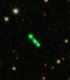 At 15,000 light-years, object K4-47 is about seven times farther away than the Twin Jet nebula, making it much more difficult to image. Based on what scientists have learned about K4-47 so far, it may have a similar structure of two lobes extending from the white dwarf in the center. (Image: Sloan Digital Sky Survey)