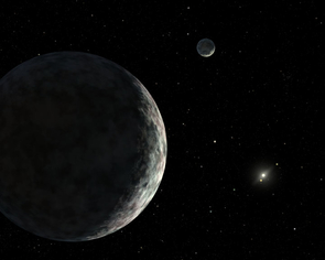 Artist's concept of the view from the dwarf planet, Eris, with Dysnomia in the background, looking back towards the distant sun.