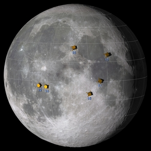The Apollo landing sites. (Image: NASA/Goddard Space Flight Center Scientific Visualization Studio)