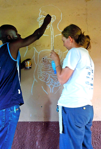 Lauren Case of Engineers Without Borders and Sekou Kante, a local resident, paint a diagram of the intestinal system at the school in the village of Dissan, Mali. (Photo: David Brock)
