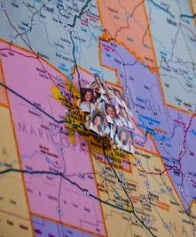 The students placed pushpins with their photos on Arizona and U.S. maps showing where they would go for their residencies. This dense cluster of photos covers the Phoenix area. (Photo by Sun Czar Belous, Media Services, UA College of Medicine-Phoenix)