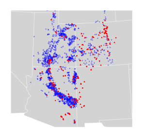 A map shows the locations were tree-ring samples taken in Utah, Colorado, Arizona and New Mexico. U.S. Forest Service Forest Inventory and Analysis program sites are blue. Sites included in the International Tree-Ring Data Bank are red. (Image: Stefan Klesse, Swiss Federal Research Institute WSL)