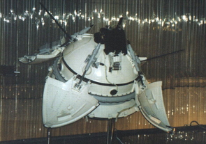 Tasked with taking pictures of the Martian surface and measure properties of the atmosphere and soil, the Mars 2 and Mars 3 missions consisted of identical spacecraft, each with a bus/orbiter module and an attached descent/lander module. Mars 2 crashed. Mars 3 made a successful touchdown, but stopped transmitting after 14.5 seconds for unknown reasons. (Image: NASA)