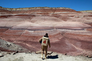Sam Martin, crew engineer and a UA senior majoring in optical sciences and engineering, surveys the red planetary landscape surrounding the Mars Desert Research Station in Utah.
