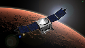 Artist concept of NASA's Mars Atmosphere and Volatile Evolution (MAVEN) mission orbiting Mars (Credit: NASA/Goddard Space Flight Center)
