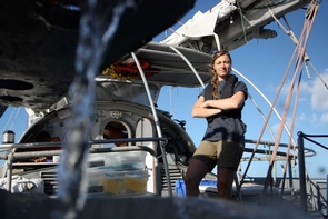 Melissa Duhaima on deck of the expedition ship, Tara. (Photo: Anna Deniaud/Tara Oceans)