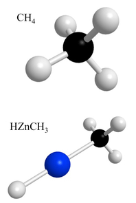Model showing the chemical structure of methane (top) and the new hybrid molecule. Ziurys' team inserted a zinc atom (blue) into the bond between the carbon atom (black) and one of the hydrogen atoms (white). (Illustration: L. Ziurys)