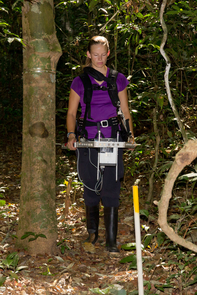 Marielle Smith carries the lidar instrument through the rainforest to collect data. (Photo courtesy of Marielle Smith)