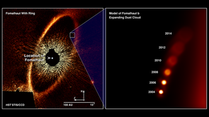 Hubble imaged a vast ring of icy debris encircling the star Fomalhaut. Shown on the right are computer simulations of the expanding and fading cloud. The cloud of very fine dust particles is estimated to stretch more than 200 million miles across. (Image: NASA, ESA, A. Gáspár and G. Rieke/UArizona)