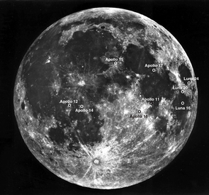 Apollo landing sites are marked on this NASA photo of Earth's moon.
