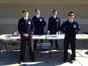 Morales, left, with his Future Farmers of America team at an open house during his freshman year of high school. (Photo courtesy of Alexis Morales)