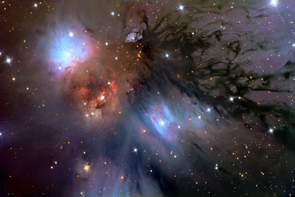 In this beautiful celestial still life selected as NASA's Astronomy Picture of the Day, dusty nebula NGC 2170 shines at the upper left. The clouds of gas, dust, and hot stars pictured here are part of a massive, star-forming molecular cloud in the constellation Monoceros. (Photo credit: Adam Block/UA Mt. Lemmon SkyCenter)