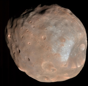 The HiRISE camera on the Mars Reconnaissance Orbiter took two images of the larger of Mars two moons, Phobos, within 10 minutes of each other on March 23, 2008. This is the first. Stickney is the large crater on the right. (Photo: NASA/JPL-Caltech/University of Arizona)