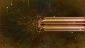 This artist's impression depicts the paths of photons in the vicinity of a black hole. The gravitational bending and capture of light by the event horizon is the cause of the shadow captured by the Event Horizon Telescope. (Credit: Nicolle R. Fuller/NSF)