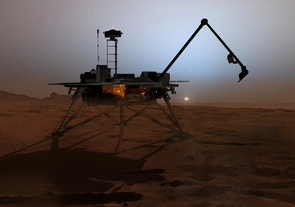 This artist's rendition shows the Phoenix Lander as it begins to shut down operations as winter sets in. No sun shines on Mars' far northern latitudes during winter. This marks the end of the mission because the solar panels can no longer charge the lander's batteries. As the atmosphere cools, frost will bury the lander in ice. (Artist: Corby Waste, Jet Propulsion Laboratory)