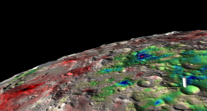 (Click image to enlarge) The white contour surrounds the largest permanently shadowed region in the Cabeus crater, with the red asterisk marking the location of the LCROSS-Centaur impact. The colors indicate how much water is present in the soil, ranging from dry (red) over intermediate (green) to areas with relatively high water abundance (blue). The white marker in the foreground points to the Moon's south pole. (Image: G. Droege, University of Arizona)