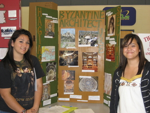 Valeria Martinez (left) and her research partner in 2010 with their entry on the influence of Byzantine art and architecture. (Photo courtesy of Lisa Adeli)