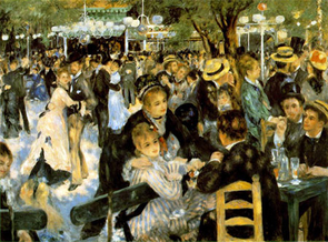 "French impressionist artist Pierre-Auguste Renoir was able to paint despite his rheumatoid arthritis. Shown here is his ""Le Moulin de la Galette,"" 1876."