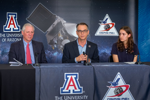 From left to right: UA President Robert C. Robbins, OSIRIS-REx principal investigator Dante Lauretta and UA senior Keara Burke, an image processing intern on the mission (Photo: Bob Demers/UA News)