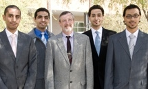 Saudi Arabian pharmacists training at the UA. From left: Alaa Bagalagel, Ahmed Al-Tyar, UA's Michael Katz, Hussam Kutbi and Hussain Bakhsh.