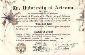 (Click image to enlarge) Jess Root's 1934 diploma, signed by UA President Homer Shantz.