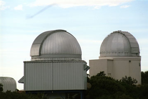 The Spacewatch telescopes. The 0.9-meter (36-inch) telescope is the one on the right.