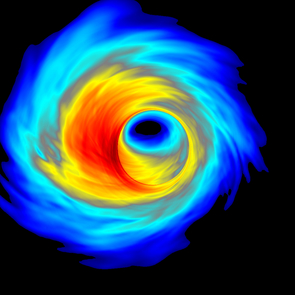 A computer simulation of superheated plasma swirling around the black hole at the center of our galaxy. (Image by Scott Noble/RIT)