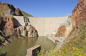 Roosevelt Dam, in Globe, was completed in 1911. It was the first of a series of projects that eventually would store some 5 million acre-feet of surface water in reservoirs within the state.