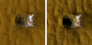 (Click to enlarge) Earlier and later HiRISE images of a fresh meteorite crater 12 meters, or 40 feet, across located within Arcadia Planitia on Mars show how water ice excavated at the crater faded with time.  The images, each 35 meters, or 115 feet across, were taken in November 2008 and January 2009.
