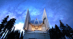 The UA's Submillimeter Telescope on Mount Graham is one of many linked together to form the Event Horizon Telescope, a virtual telescope as big as Earth. Psaltis and his colleagues are getting ready to use the EHT to take an image of the black hole at the center of the Milky Way and compare it to others, such as the one in M87. (Photo courtesy of Dave Harvey)