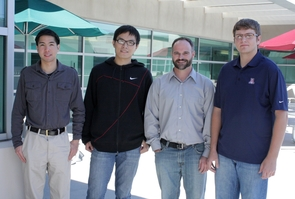 Left to right: Kevin Do (materials science engineering), Chengdong Cai (civil engineering), Kevin Pieters (planning), Matt Novak (materials science engineering). Not pictured: MBAs Jeff Gerber and Allison Duffy. (Photo by Simmons Buntin)