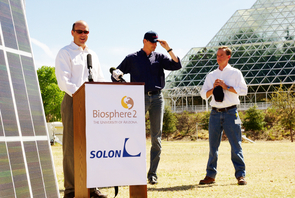 Left to right, Biosphere 2 director Travis Huxman, SOLON Corp. president and CEO Olaf Koester and SOLON Corp. research and development officer Bill Richardson announced SOLON's gift of almost 500 solar panels to Biosphere 2 on March 18. The panels will be used to power the campus' Casita Village and for education and research.