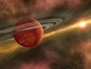 """""""Out of the Dust, a Planet is Born"""" - In this artist's conception, a possible newfound planet spins through a clearing in a nearby star's dusty, planet-forming disk. (Image credit: NASA/JPL/R. Hurt, SSC)"""