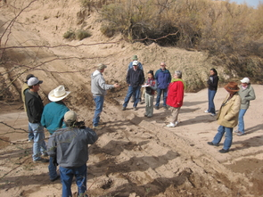Ranchers, government agency conservationists, town administrators, researchers and students discuss the causes of past erosion in southeastern Arizona, just one of the drylands areas in which Orr has worked. (Photo: Barron Orr)
