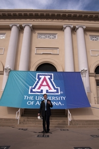 Phoenix Mayor Greg Stanton stands in front of the UA College of Medicine-Phoenix.