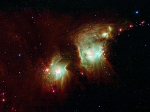 The molecule known as H3+ is believed to have had a vital role in cooling down the first stars of the universe, and may still play an important part in the formation of current stars. Above, new stars burst into being in the star-forming nebula Messier 78, imaged by NASA's Spitzer Space Telescope. (Image credit: NASA/JPL-Caltech)