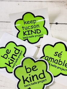 Stickers promoting kindness are among a variety of merchandise sold through Ben's Bells. (Photo courtesy of Ben's Bells)