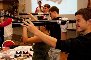 Alex Granillo was one of 350 high school students building telescopes as part of Raytheon's MathMovesU initiative event partnered with the UA Office of Early Academic Outreach. (Photo by Patrick McArdle/UANews)