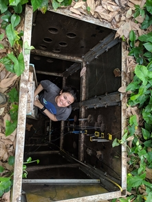 UA undergraduate researche Jessica Graham samples soil from portals at various depths in a 4-meter-deep soil pit. (Photo: Laura Meredith)