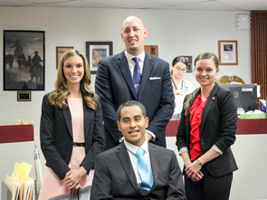 On Nov. 1, UA law students (clockwise from left) Kristina Rood, Jonathan Rich, Zoey Kotzambasis and Erick Hernandez participated in Veterans Court, where they watched several of their clients graduate from the program. (Photo: Alejandra Cardenas/UA James E. Rogers College of Law)