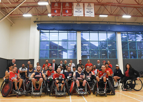 Ducey and Robbins met with the adaptive athletics staff and members of the wheelchair basketball and rugby teams. (Photo: Disability Resource Center)