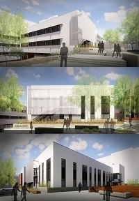 The Arizona Center for Drug Discovery will be housed in the Skaggs Pharmaceutical Sciences Center. The renderings show the views looking northwest (top), west (middle) and southwest (bottom) from the steps leading to the UA Health Sciences plaza. (Images: Shepley Bulfinch and GLHN Architects and Engineers.)