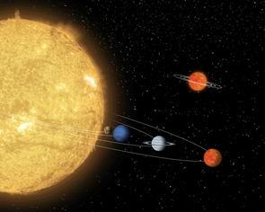 The smallest of several planets in the 55 Cancri system, the former 'diamond planet' is seen orbiting its host star at very close range in this artist's impression. A nearby brown dwarf with its own 'miniature' planetary system is pictured as well.  (Illustration: NASA/JPL-Caltech)