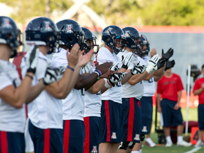 The UA football team during its first practice.