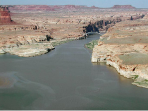 View of upper Colorado River from Highway 95 near Hite Marina, Utah, in March 2002 (Photo: John Dohrenwend)